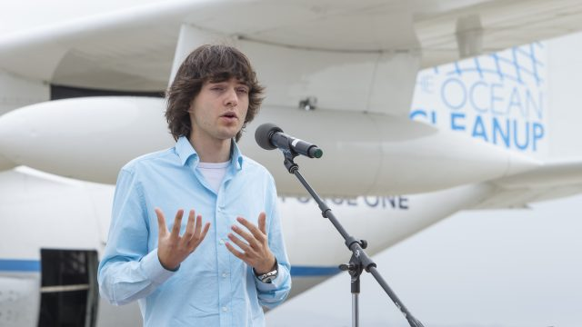 Boyan Slat speaking at the Aerial Expedition press event at Moffett Airfield in Mountain View, California on October 3, 2016