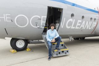 Boyan Slat at the Aerial Expedition press event at Moffett Airfield in Mountain View, California on October 3, 2016