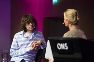 Boyan Slat in a fireside chat with Hege Marie Norheim at the ONS conference in Norway, August 31, 2016. Photo by Morten Berentsen.