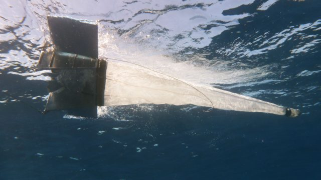 Manta trawl deployed during Mega Expedition.