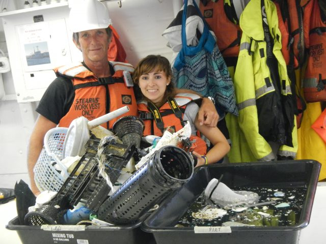 Crew showing size distribution of ocean plastic recovered with R/V Ocean Starr, the Mega Expedition mothership.