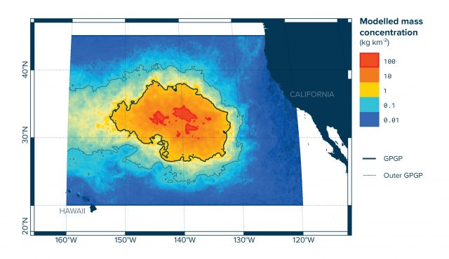 Modeled mass concentration of plastic in the Great Pacific Garbage Patch.