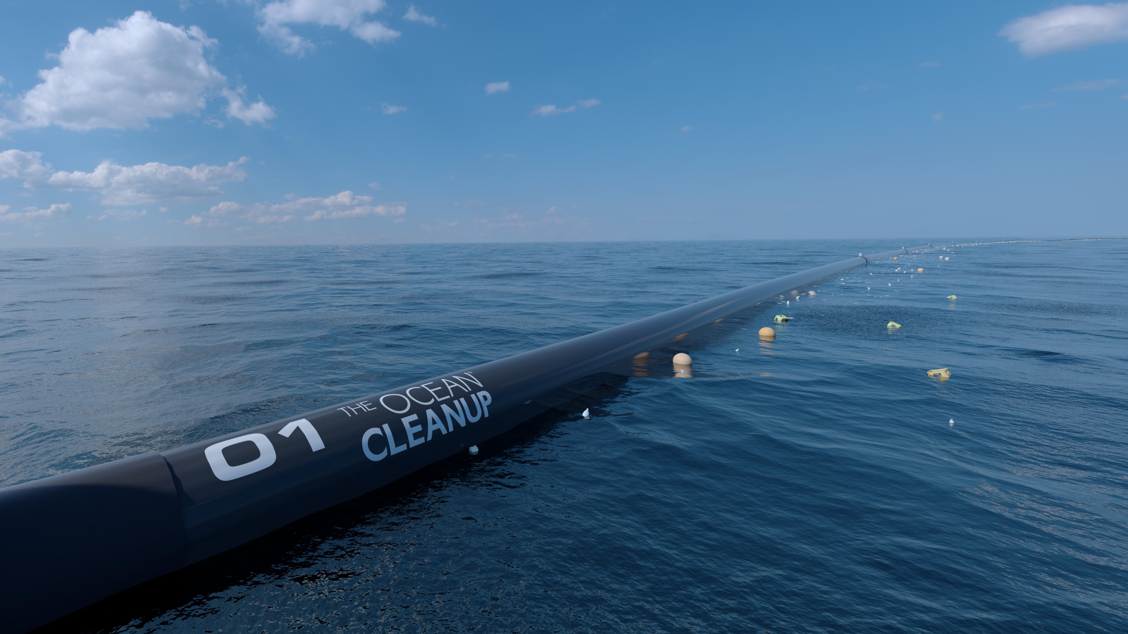 The Ocean Cleanup computer rendering, close-up. Credits: Erwin Zwart / The Ocean Cleanup