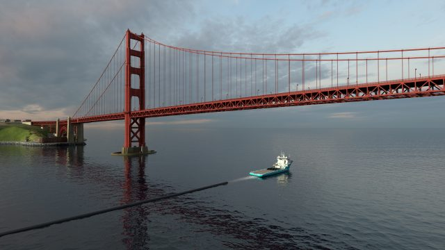 The Ocean Cleanup computer rendering, Tow-out. Credits: Erwin Zwart / The Ocean Cleanup