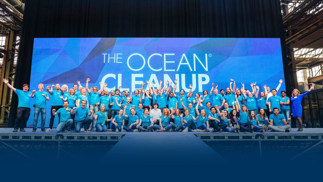 The Ocean Cleanup team on stage