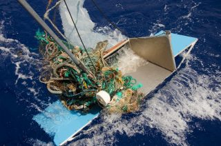 A floating debris too large to enter a Manta Trawl, the conventional surface sampling device method, 2015. Credits: Chloé Dubois