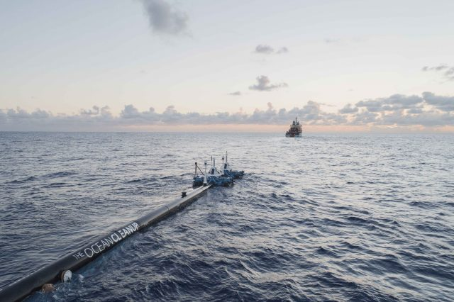 The Maersk Launcher towing System 001 towards the test site, September 14.