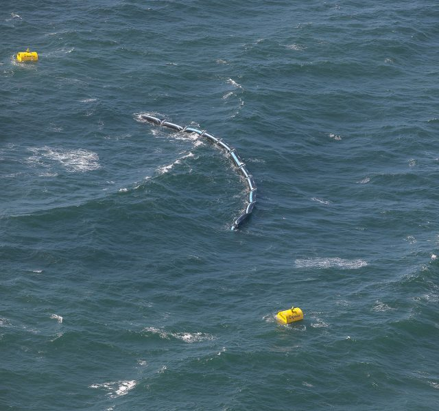 Aerial photograph of the prototype on a choppy sea early August 2016
