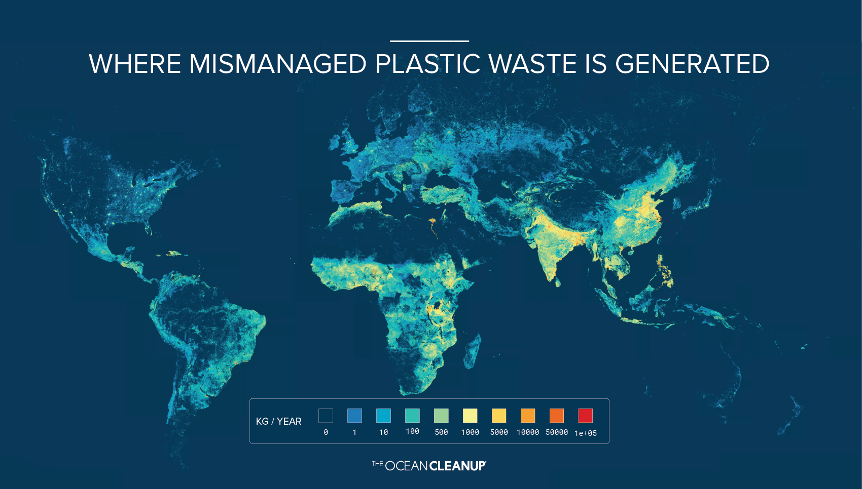 A visual showing where plastic waste leaks into the environment