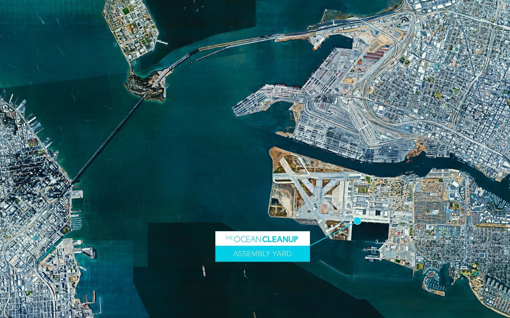 Location of The Ocean Cleanup Assembly Yard in relation to Oakland (top right) and San Francisco (left)