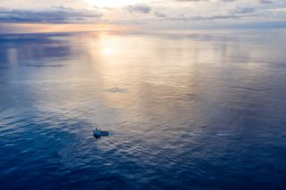 System 001/B towed to the Great Pacific Garbage Patch