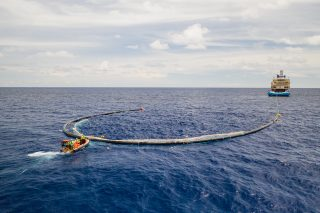System 001/B in the Great Pacific Garbage Patch, attached to the vessel for tow-test, June 2019