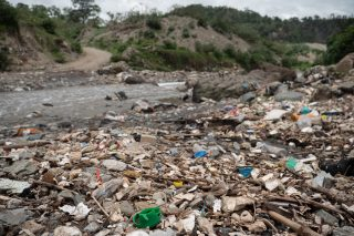 Plastic accumulated along the Las Vacas River