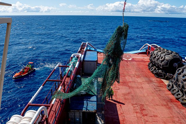 Ghost net lifted onboard the vessel in the Great Pacific Garbage Patch, during the System 001/B mission 2019