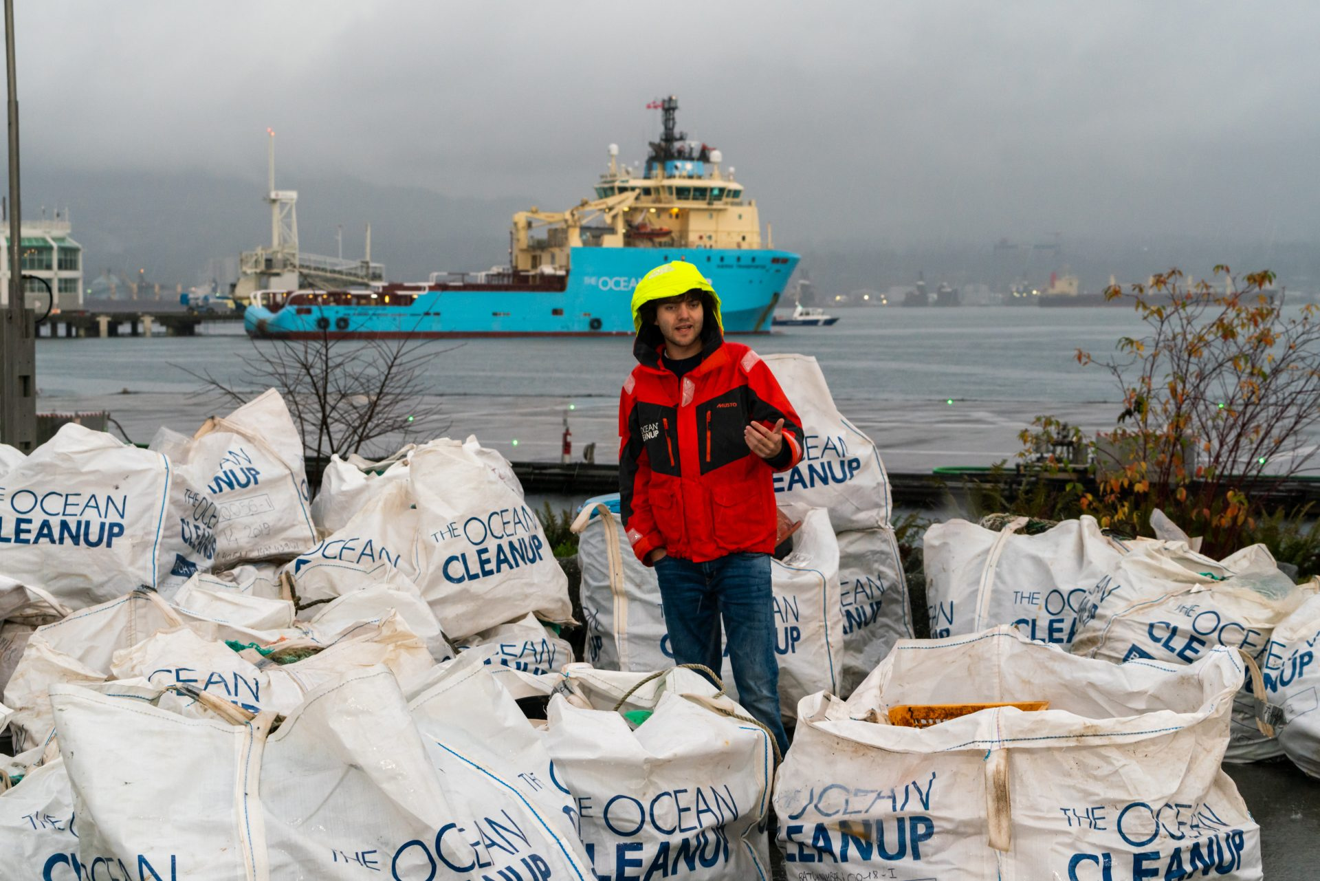 Young Boyan, founder of the ocean cleanup, wearing high-vis gear and yellow helmet