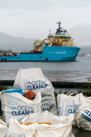 Big bags filled with plastic caught in the Great Pacific Garbage Patch by System 001/B. The Ocean Cleanup will not begin the journey to transform the plastic into products that will help fund the continuation of the cleanup