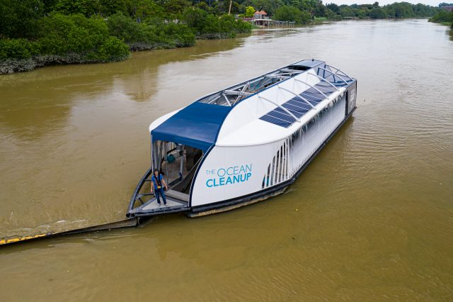 Boyan Slat on the Interceptor 002 in Klang River, Malaysia