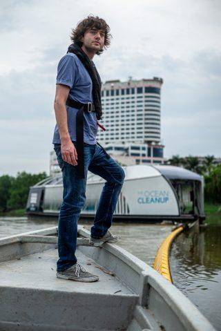 Boyan Slat at the Interceptor location in Klang river, Malaysia