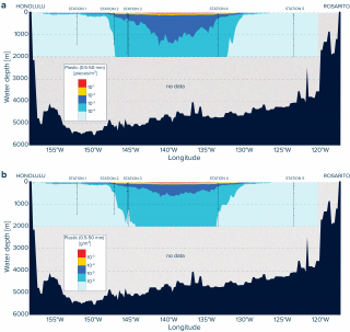 A first qualitative visualization of the vertical numerical (a) and mass (b) concentrations of plastic debris below the Great Pacific Garbage Patch.
