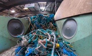 Ghost nets being processed for recycling into granulate.