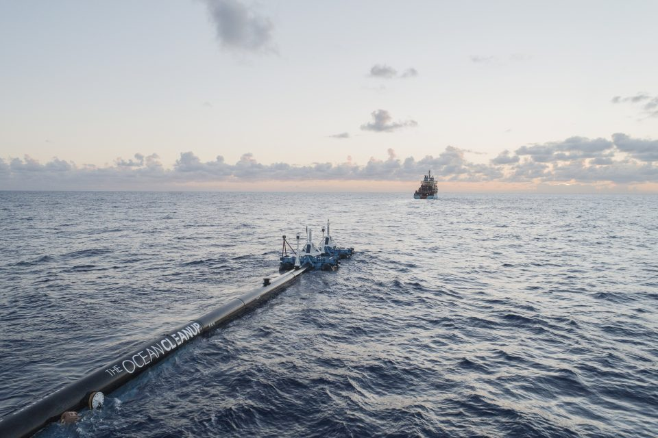 System 001 towed out to the Great Pacific Garbage Patch for trial, September 2018