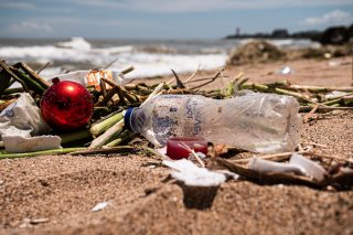Plastic pollution washed up on a beach in Dominican Republic