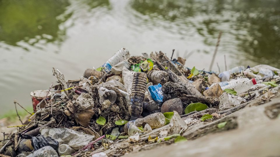 Plastic debris washed up from a river in Indonesia