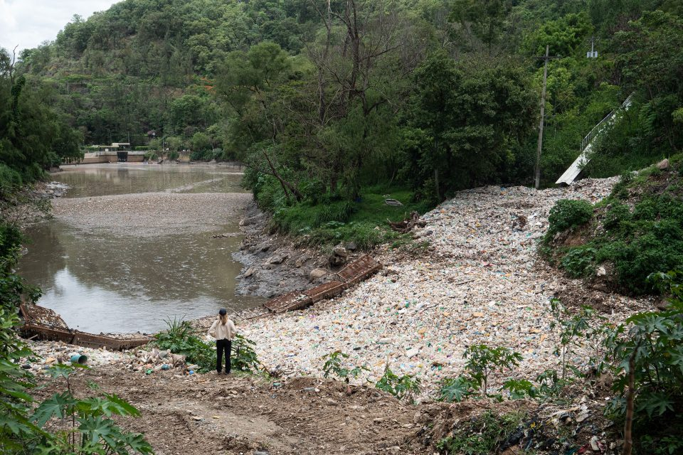 A dam in Guatemala to block plastic debris pouring into the local waterway