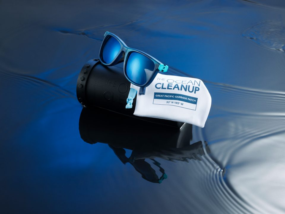 The Ocean Cleanup sunglasses with case and pouch - both made with recycled materials