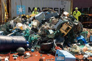 Plastic catch onboard the support vessel, after emptying the retention zone of System 002. The catch is later sorted and put into containers.