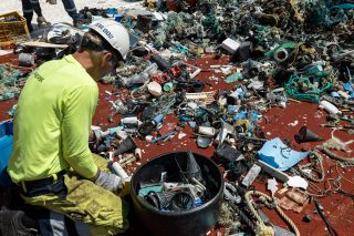 Plastic catch being sorted on board the support vessels during the System 002 mission